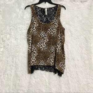 Lovely Day leapord print tank top lace back size M